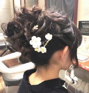 編み込み アップ まとめ髪 ヘアセット 成人式